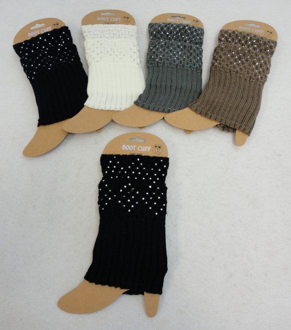 """24 Units of Knitted Boot Cuffs [Rhinestones] Assorted colors. 7"""" long. - Womens Leg Warmers"""