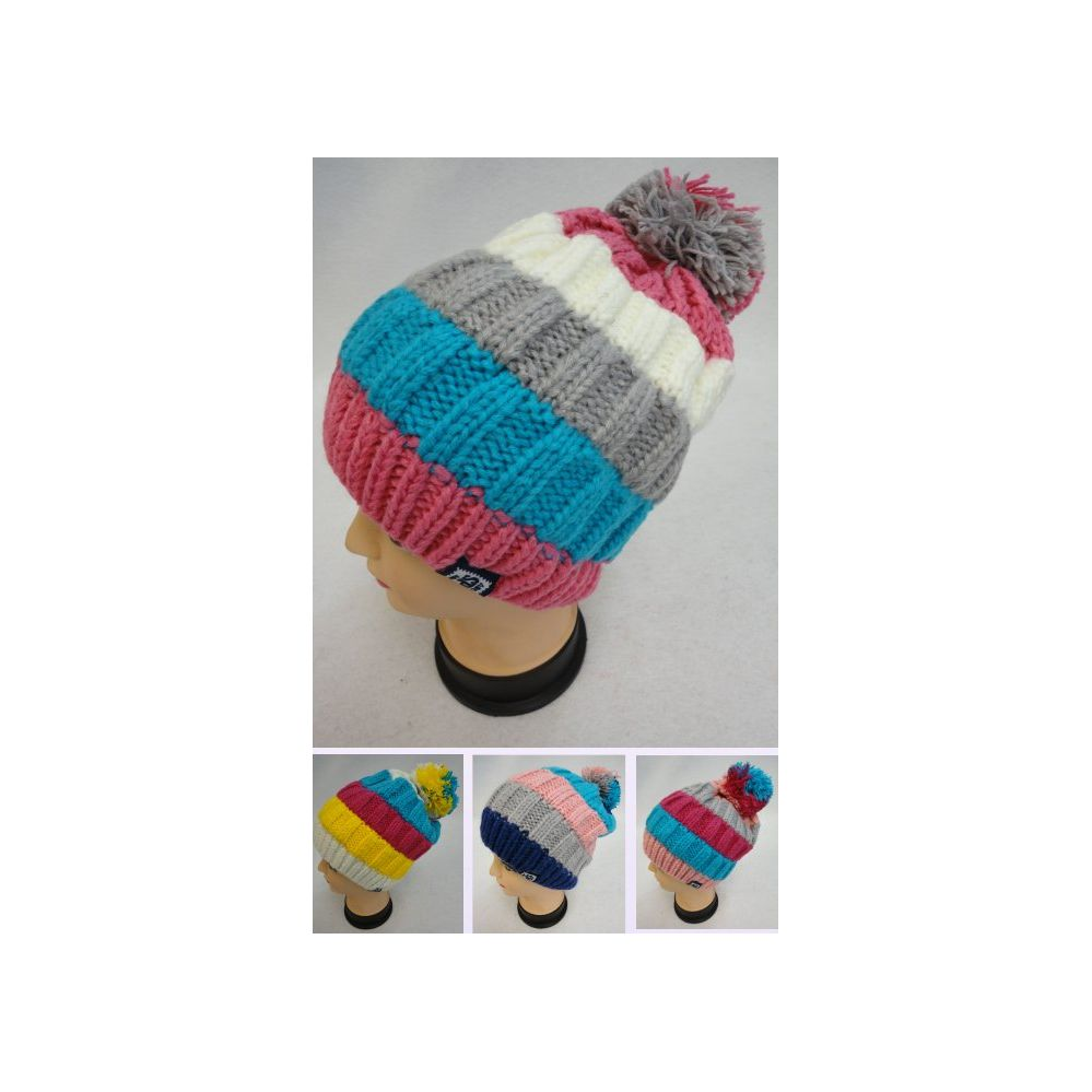 0a6d56951250 24 Units of Fleece-Lined Ladies Knitted Hat with PomPom [Wide Stripes] - Winter  Beanie Hats - at - alltimetrading.com