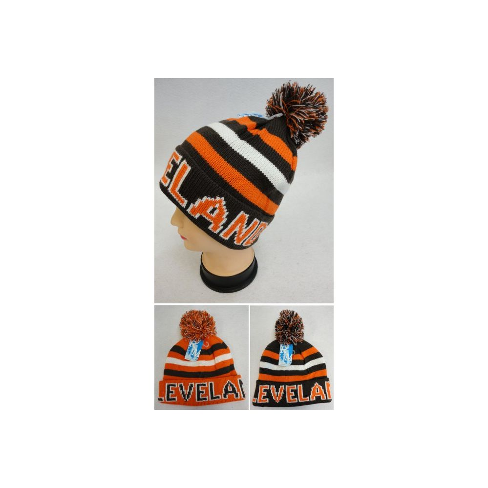 12 Units of Knitted Toboggan Hat [CLEVELAND] Brown/Orange - Toboggan Hats