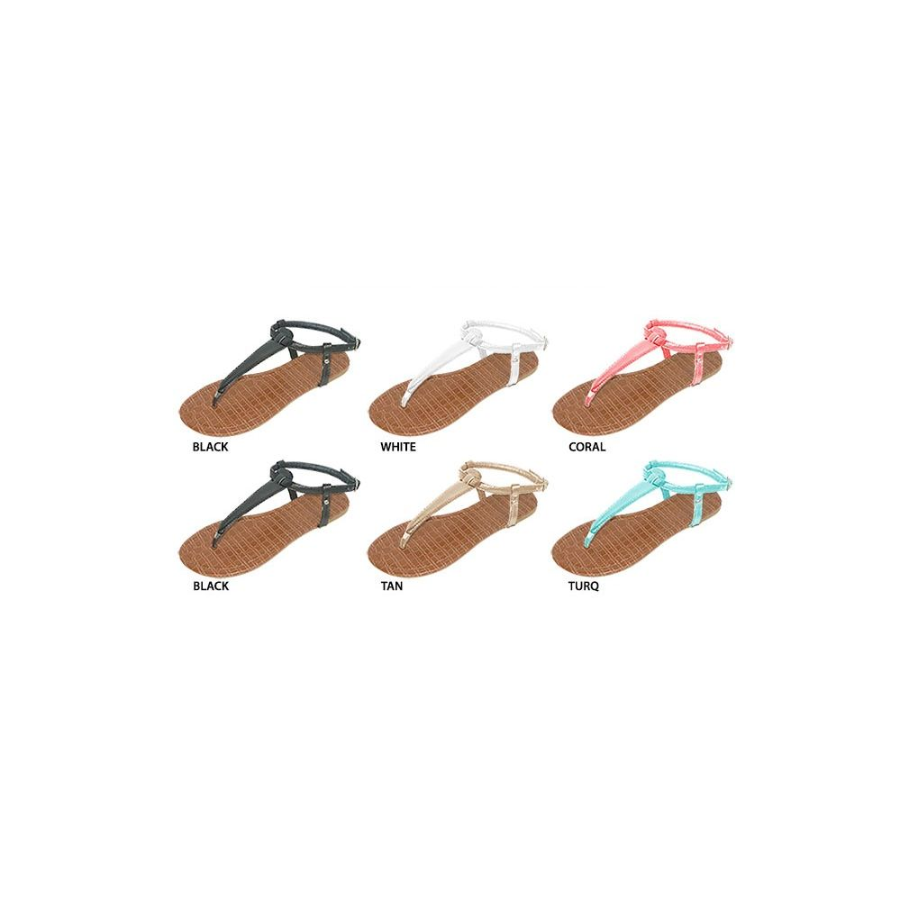 36 Units of Ladies T-Strap Sandal With Faux Crocodile Skin Footbed