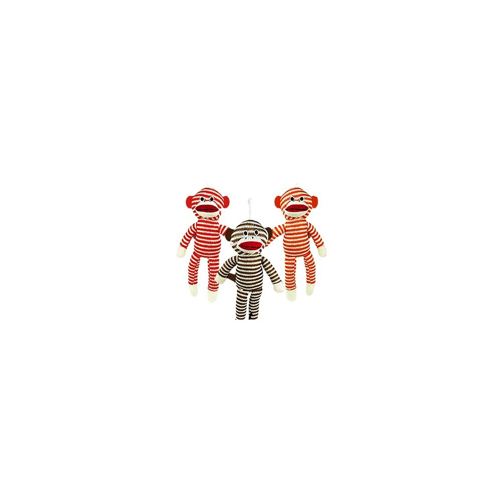 192 Units Of Striped Sock Monkeys Plush Toys