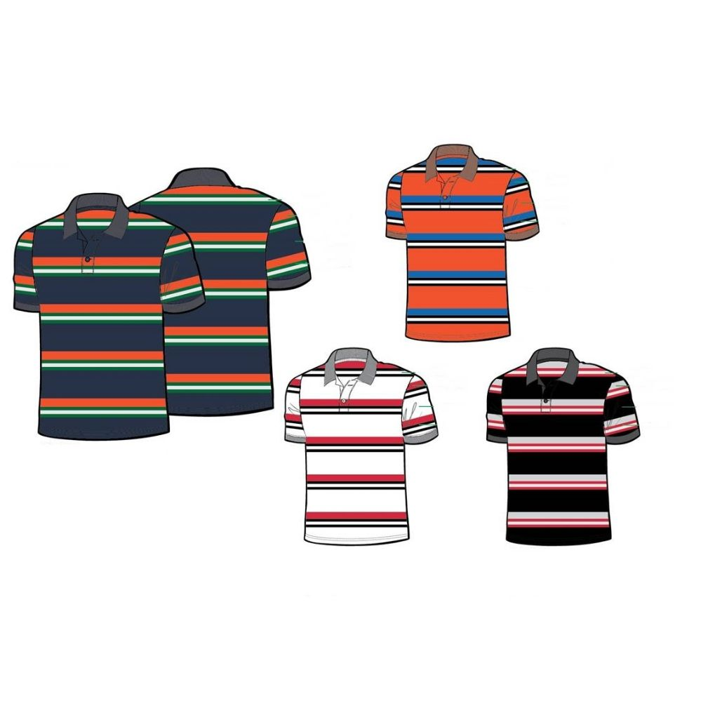 24 Units Of Mens 100 Cotton Striped Polo Shirt Boys School