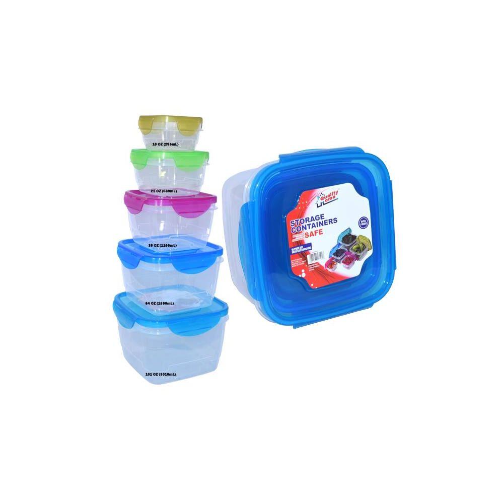 24 Units of Rainbow Plastic 10 Piece Container Set Locking Lid