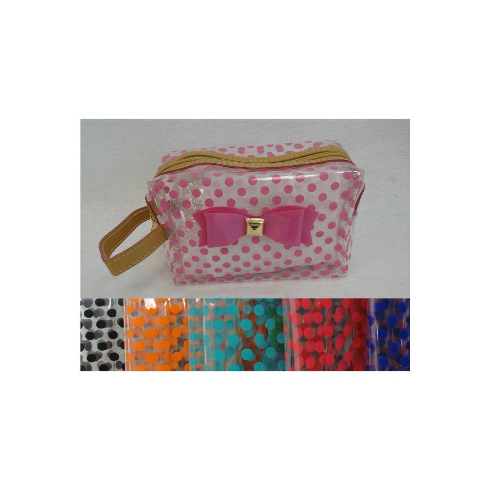 24 Units of Clear Plastic Make-Up Bag [Polka Dots & Bow]