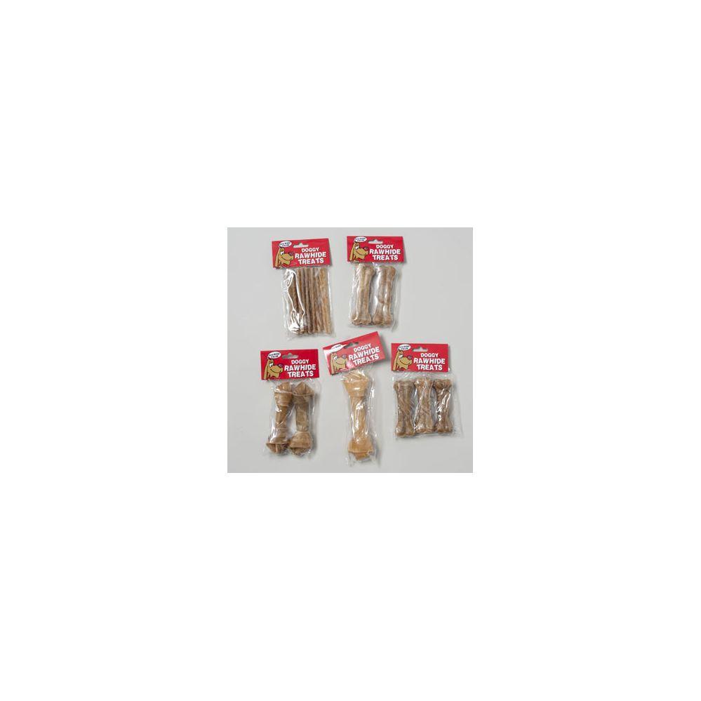 120 Units of 6 Asst Rawhide Natural Dog Chews - PET CHEW/MUNCHIES/RAWHIDES/STICKS