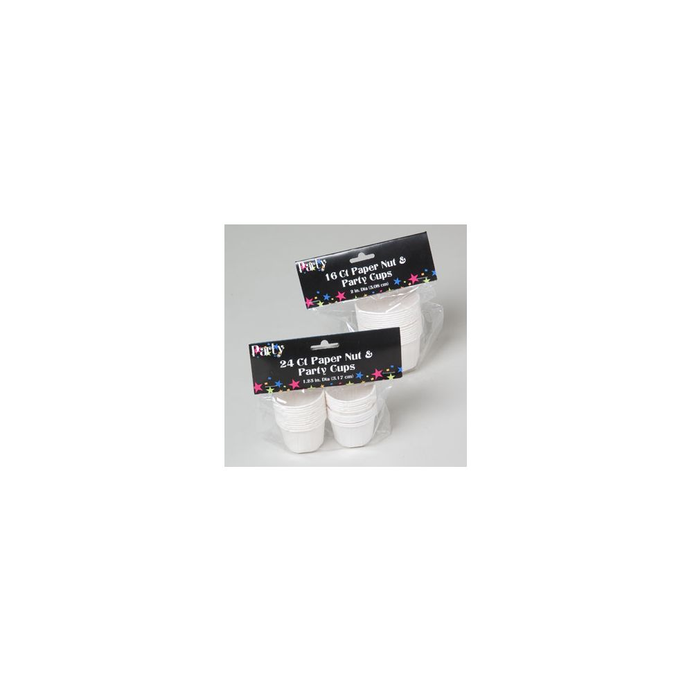 72 Units of Nut & Party Cups 24ct Wht Paper 1.25in Or 16ct 2in Dia Coated Party Pbh - Party Paper Goods