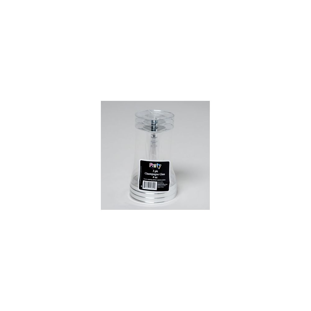 48 Units of Champagne Glass 3pk Silver Rim Plated/party Shrink Wrap W/label - Party Paper Goods