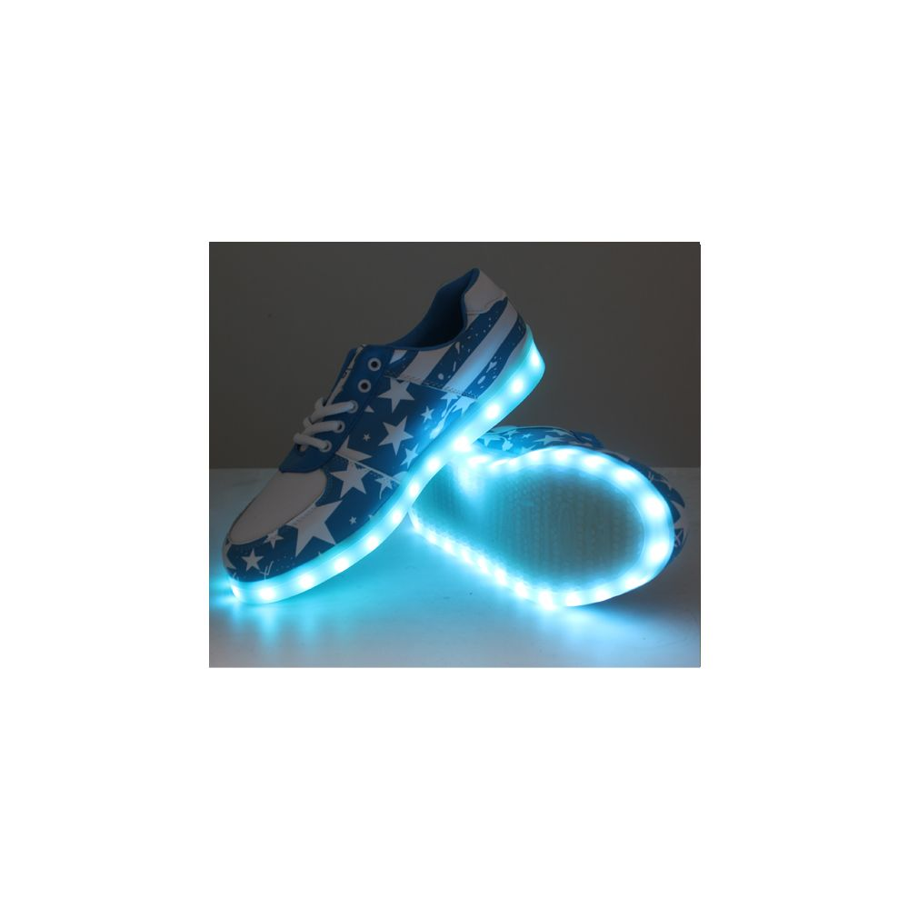 6 Units of LED SHOES ADULT MIX SIZE BLUE WITH WHITE STARS