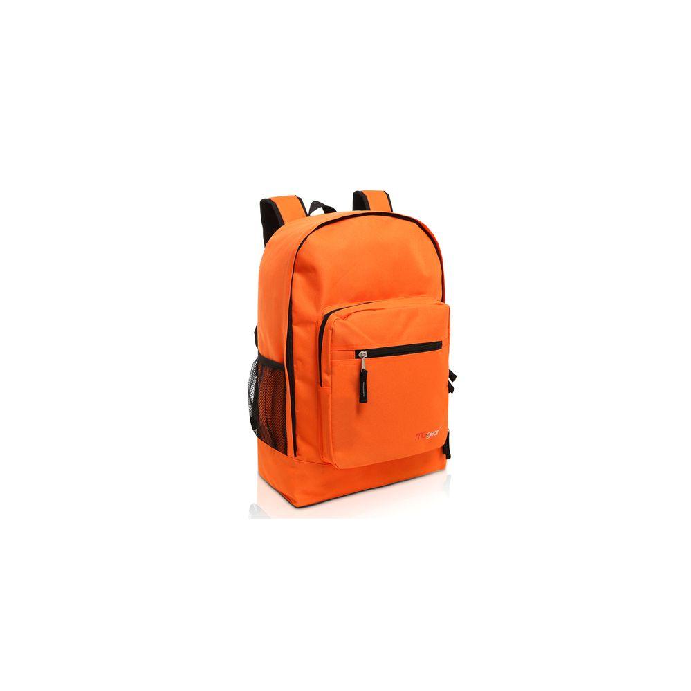 20 Units Of Mggear 17 5 Inch Multi Pocket School Book Bags In Bulk Orange Backpacks