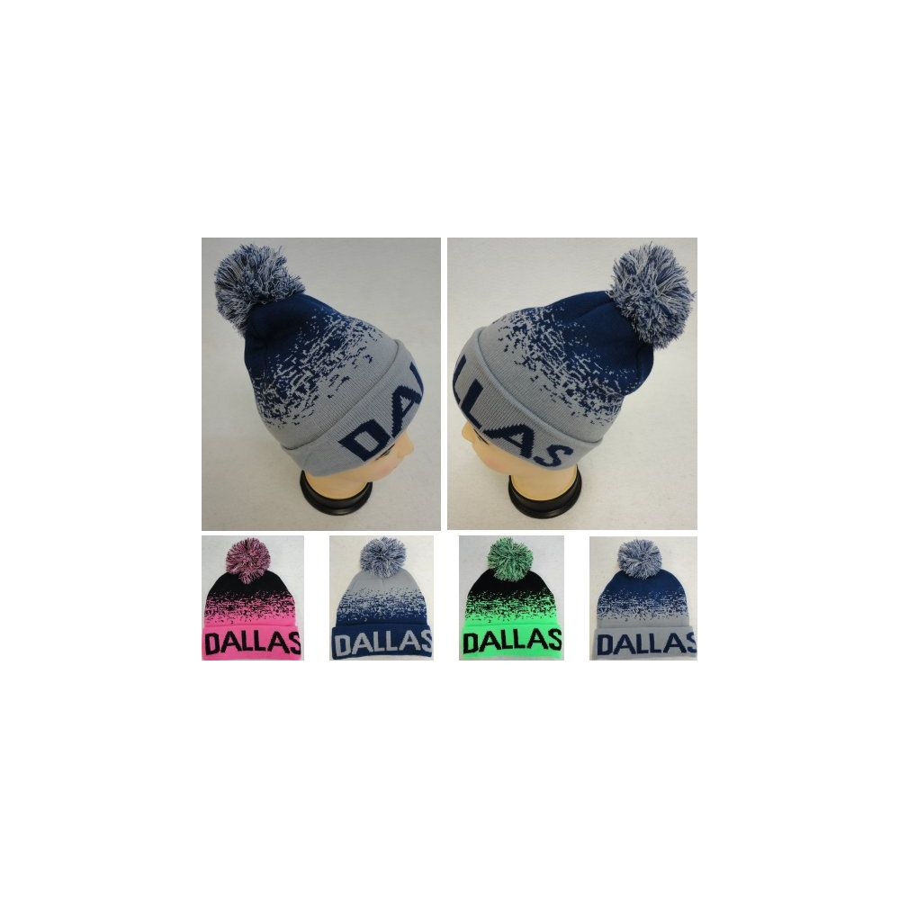 49c205ca2b8f 48 Units of Knitted Hat with PomPom [DALLAS] Digital Fade - Winter Beanie  Hats - at - alltimetrading.com