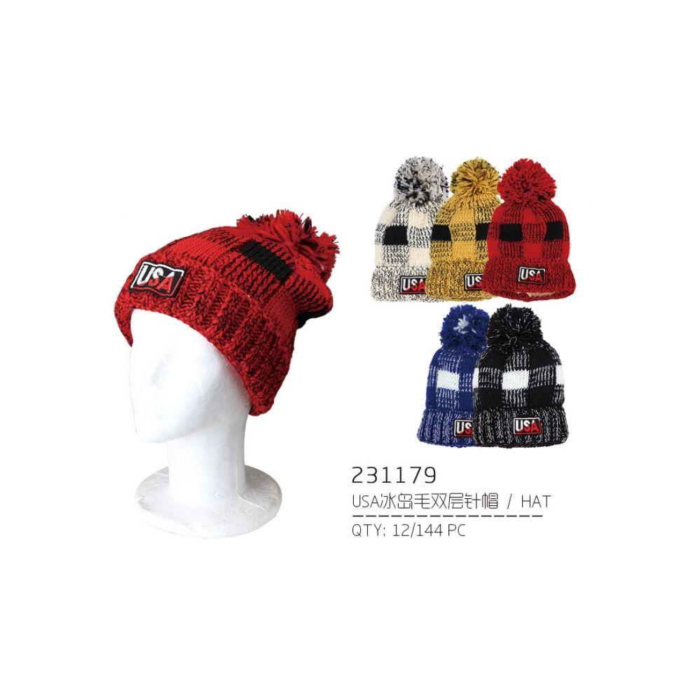 75b99732f723e 48 Units of USA Pom Pom Winter Hat - Fashion Winter Hats - at -  alltimetrading.com