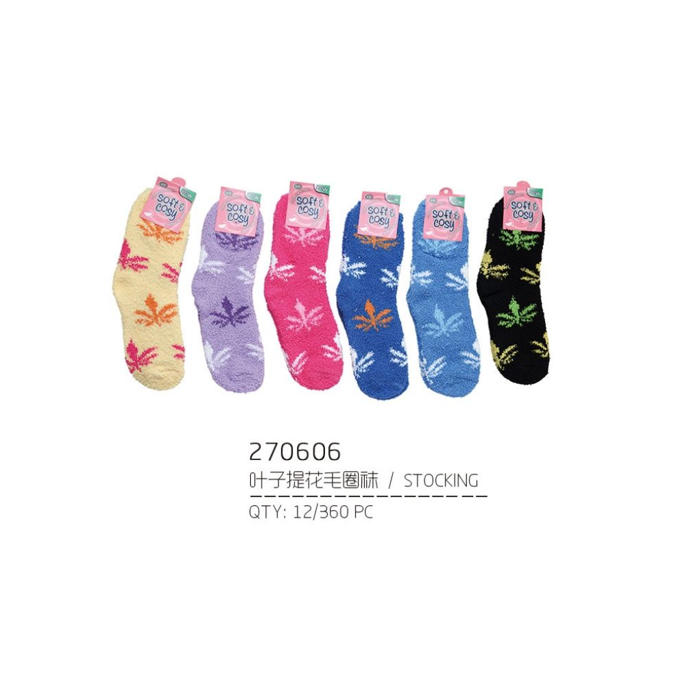 144 Units of Assorted Color Fuzzy Socks