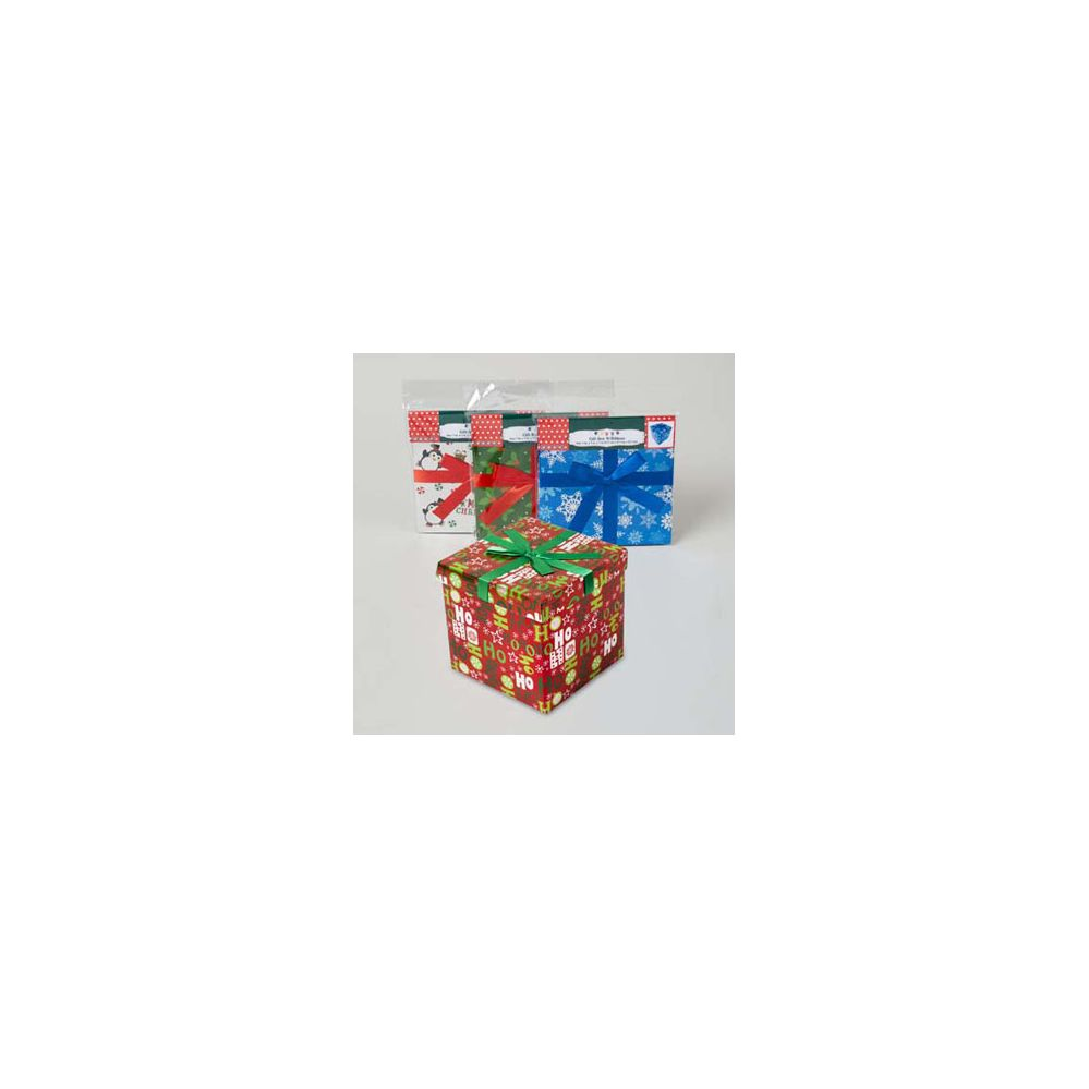 96 Units of Gift Box 7inch Cube With ribbon 4 assorted Xmas