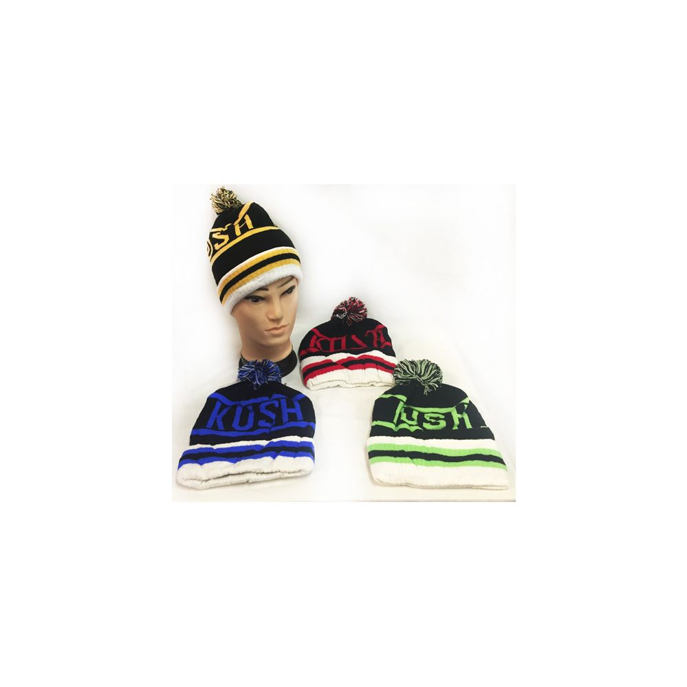 e62eea42784 36 Units of Knitted Pompom Kush Block Letter Winter Beanie Hats - Hats With  Sayings - at - alltimetrading.com