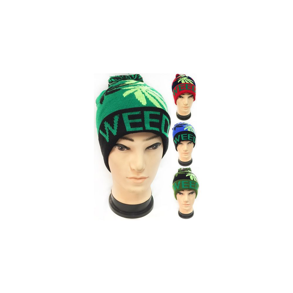 36 Units of Wholesale Winter Knitted Beanie Hat Weed Marijuana Leaf Pom Pom  - Hats With Sayings - at - alltimetrading.com ffccc5680fc