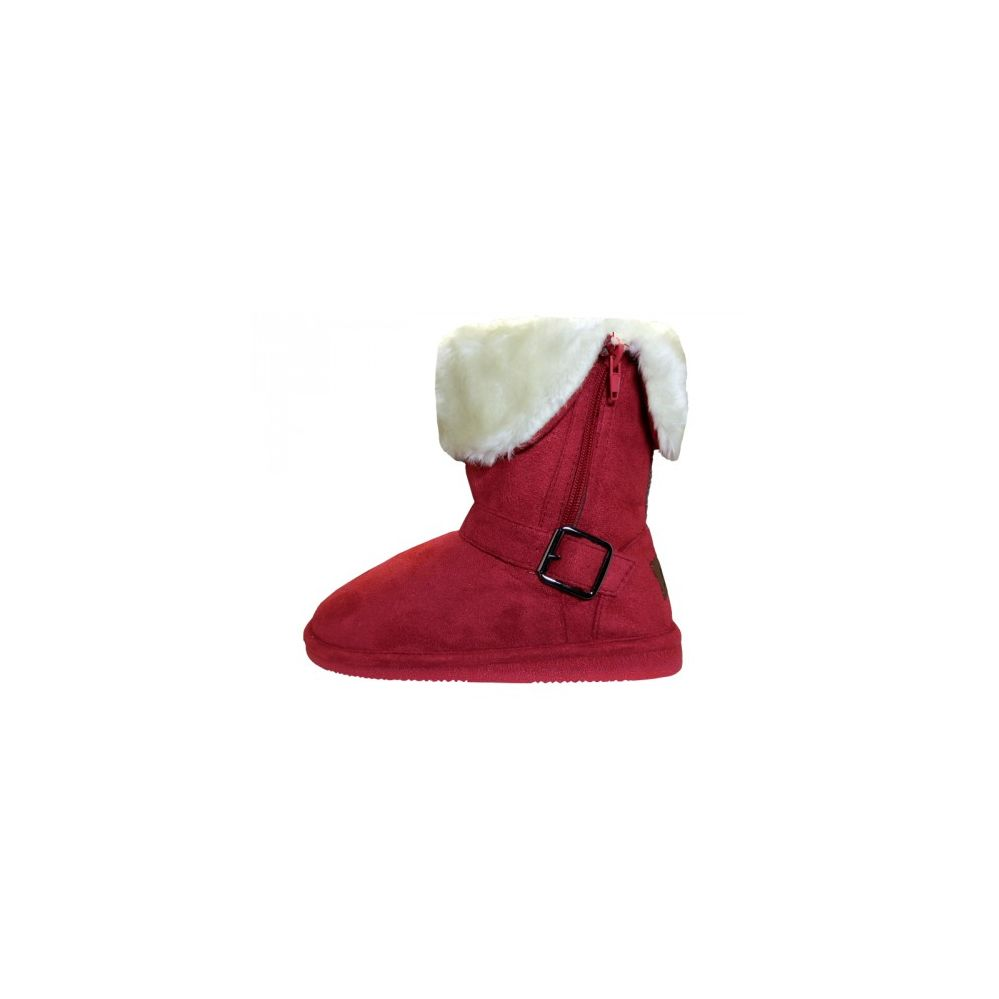 24 Units Of Youths Micro Suede Foldover Boots With Faux Fur Lining And Side Zipper S At Alltimetrading