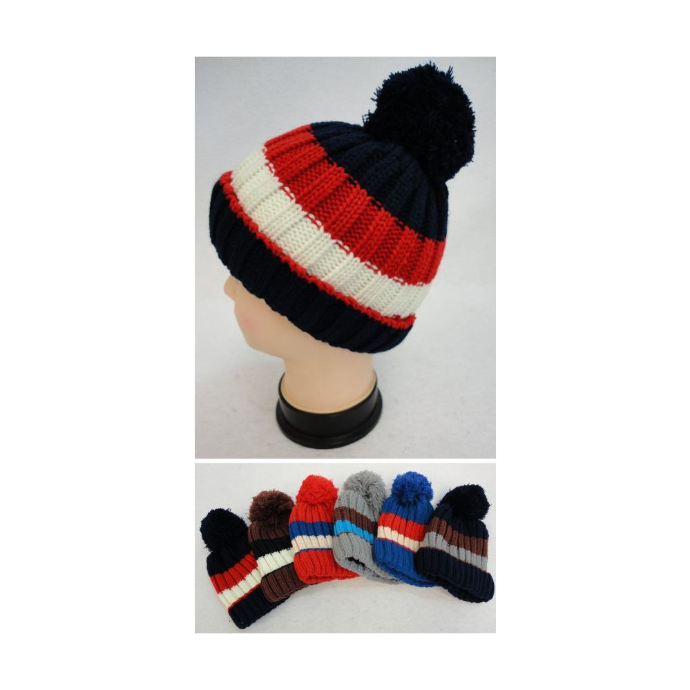 c11201cb794 36 Units of Boys And Girls Fleece Lined Winter Beanie With Pom Pom - Winter  Beanie Hats - at - alltimetrading.com