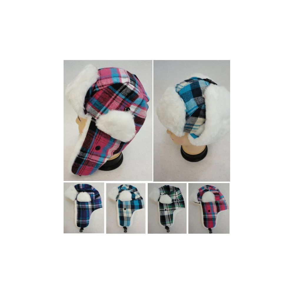 b9e4655cc48 24 Units of Kid s Bomber Hat with Plush Lining  Plaid  - Junior   Kids  Winter Hats - at - alltimetrading.com