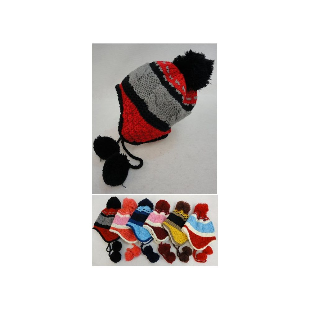 f3d014bfbb4 36 Units of Kid s Fleece-Lined Knit Cap with Ear Flap   PomPom  TriColor  -  Fashion Winter Hats - at - alltimetrading.com