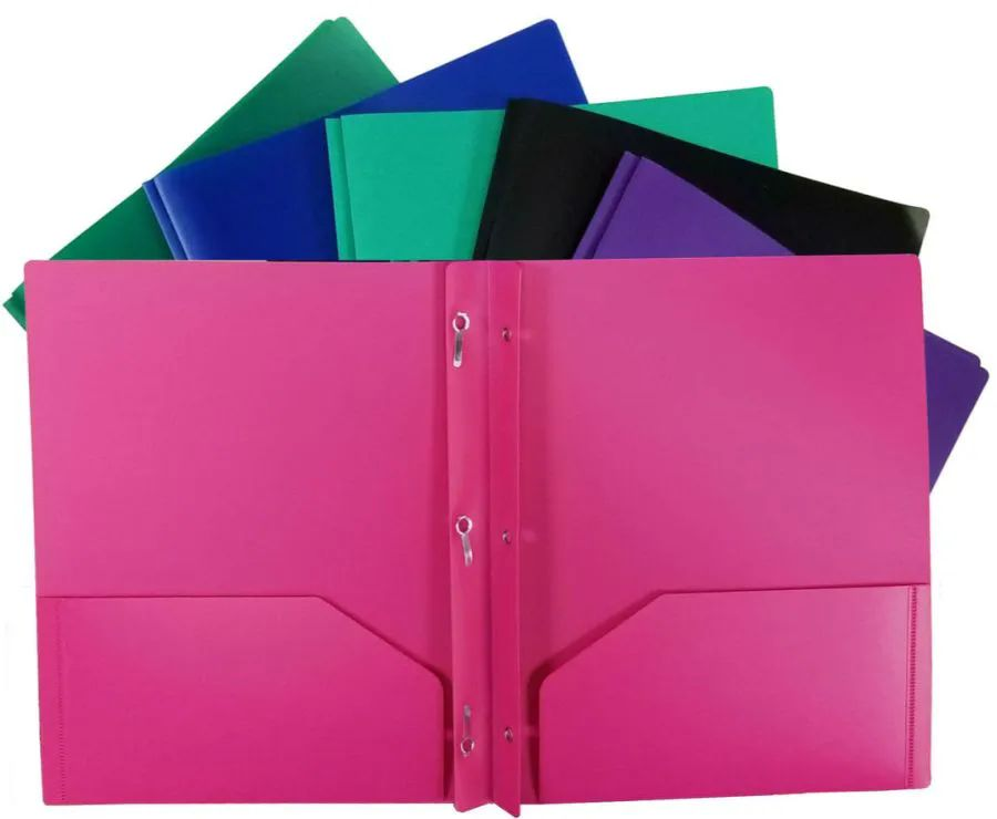 96 Units Of 2 POCKET POLY PORTFOLIO With Prongs COLORS