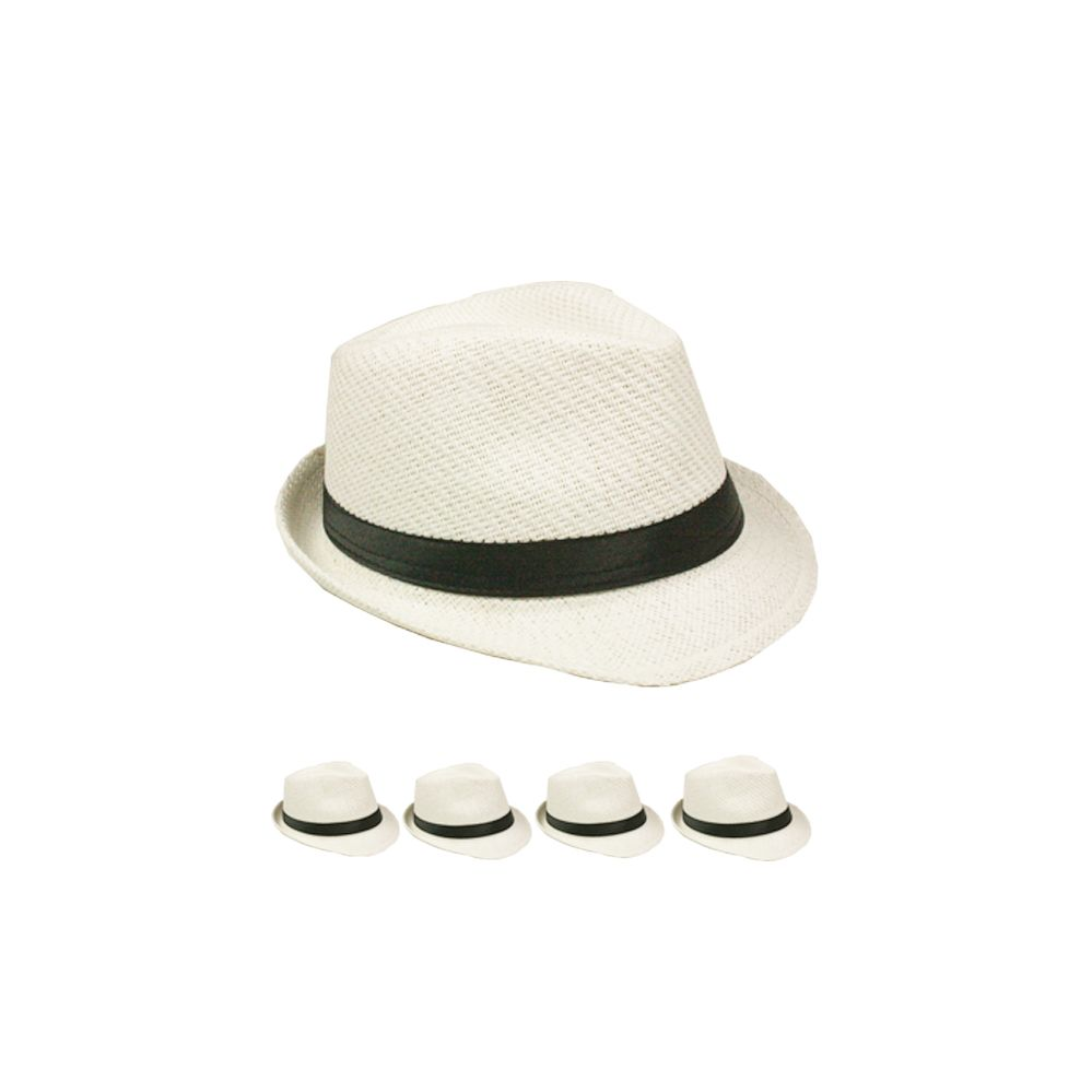 24 Units of Adult Plain Paper Straw White Fedora Hat - Fedoras ... 33dffb26704