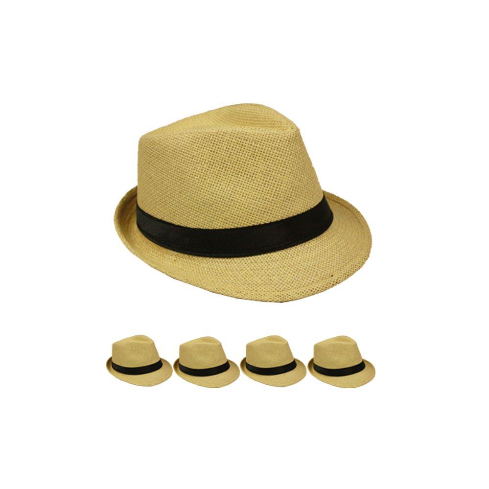 24 Units of Adult Natural Straw Fedora Hat - Fedoras, Driver Caps & Visor