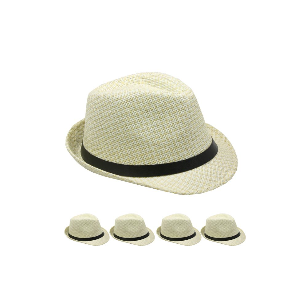 24 Units of TAN AND WHITE FEDORA HAT WITH BLACK BAND - Fedoras ... 5696b008d3f