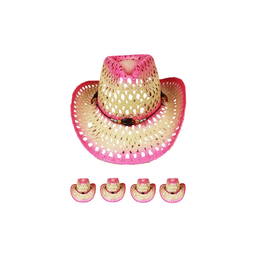 24 Units of CUT OUT OPEN WEAVE COWBOY HAT IN PINK - Cowboy   Boonie Hat -  at - alltimetrading.com 9e2a1577a8d