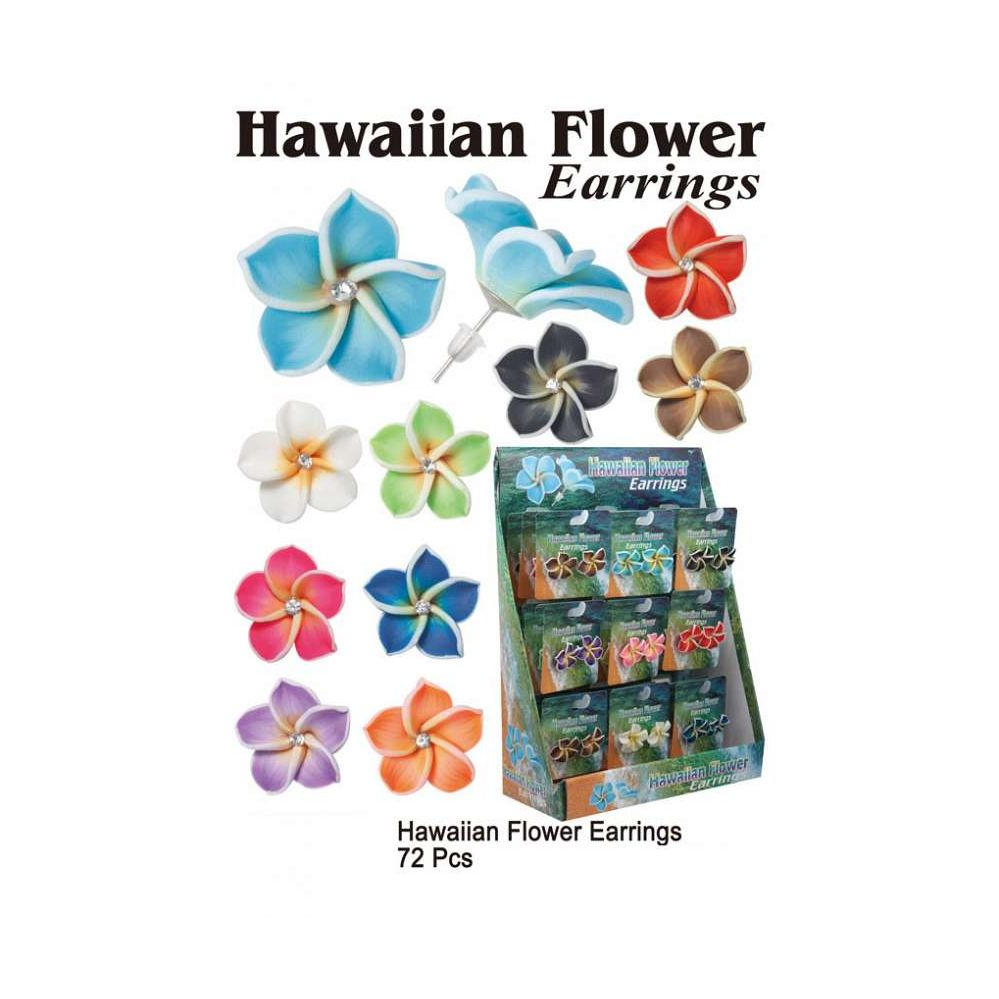 72 Units Of Hawaiian Flower Earrings Assorted Colors Earrings At