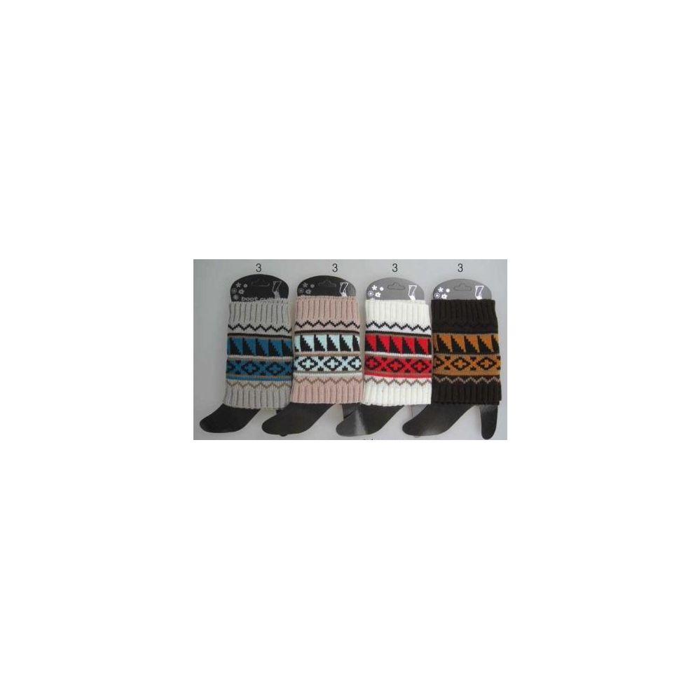 36 Units of Wholesale Aztec Design Short boot topper assorted colors