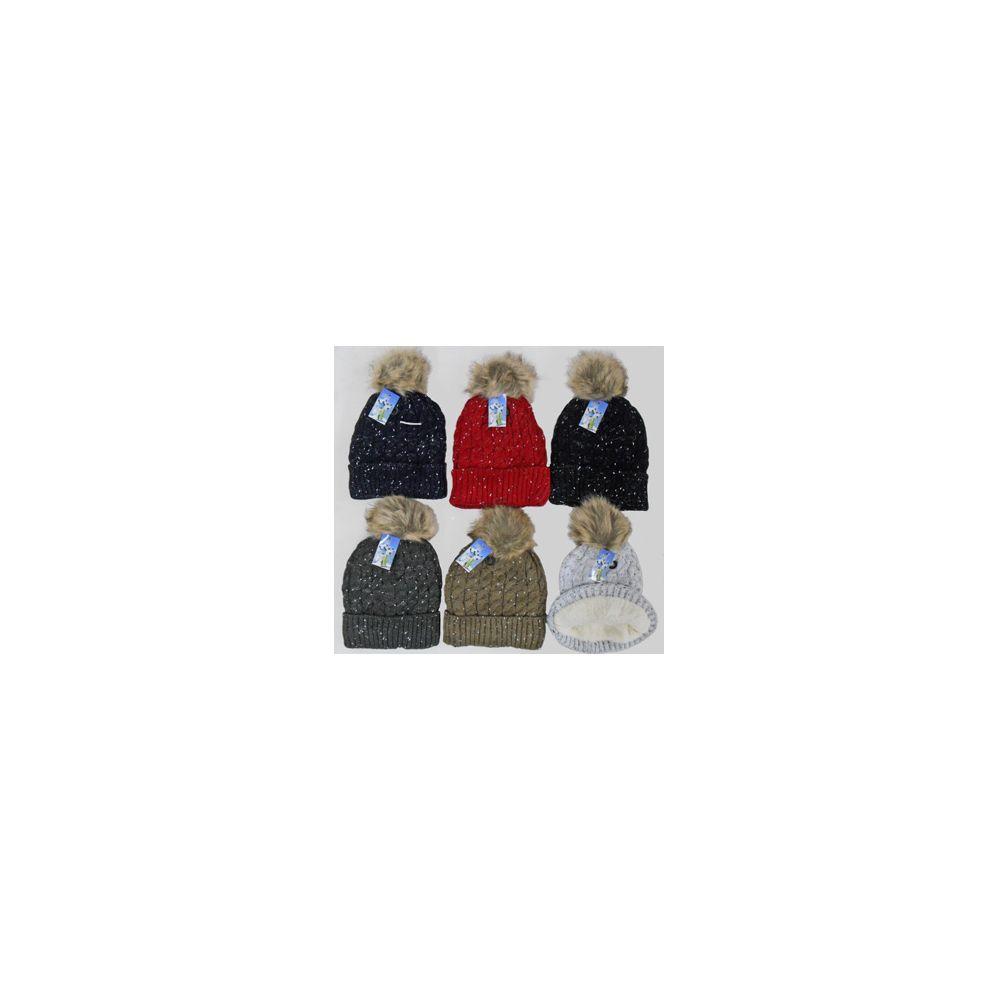 48 Units of Knit Ski Hat-Fur Lining, Fur Pompom