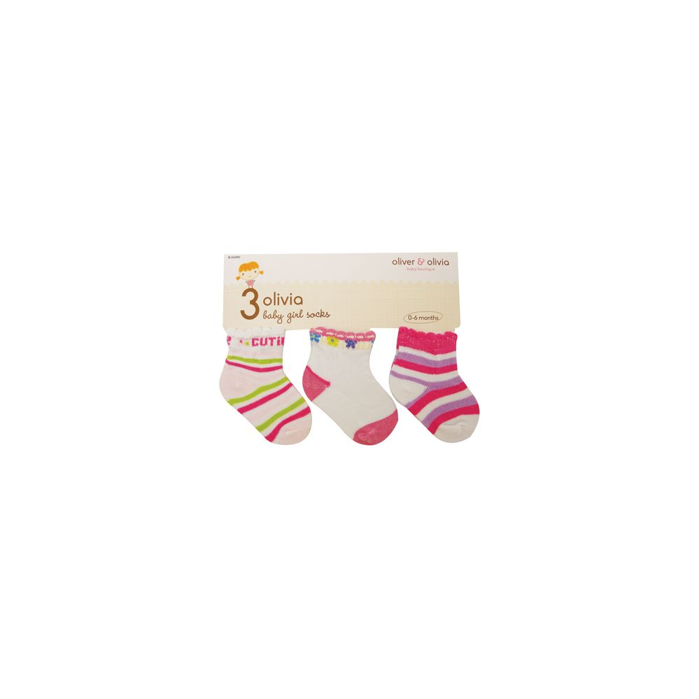 96 Units of GIRL'S INFANT SOCKS 3 PAIR ASSORTED COLORS & DESIGNS SIZE 0-6 MONTHS