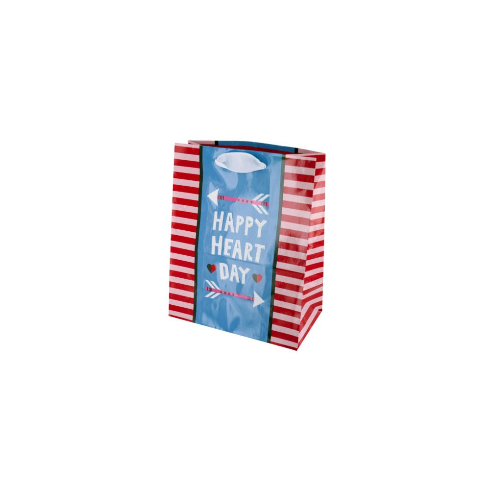 108 Units of Happy Heart Day Striped Gift Bag - Gift Bags