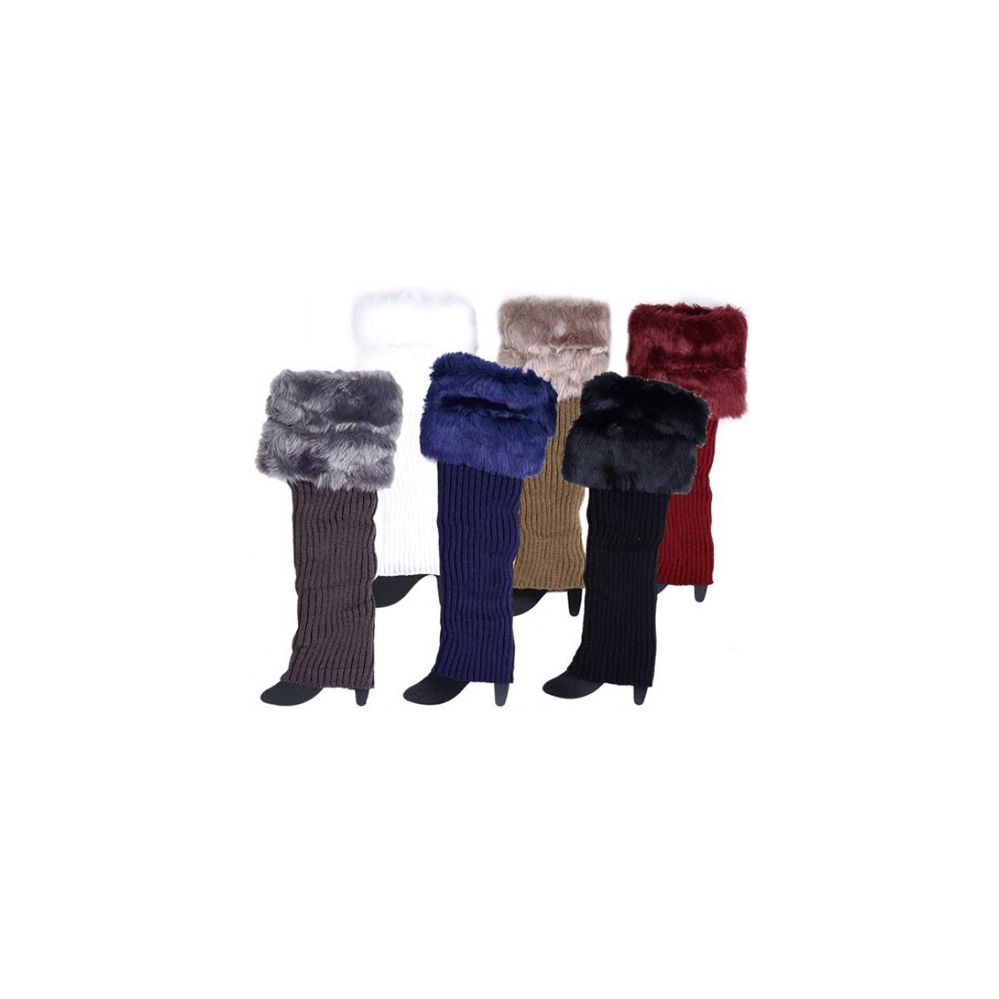 12 Units of Wholesale Knitted Long Boot Topper Leg Warmer with Faux Fur