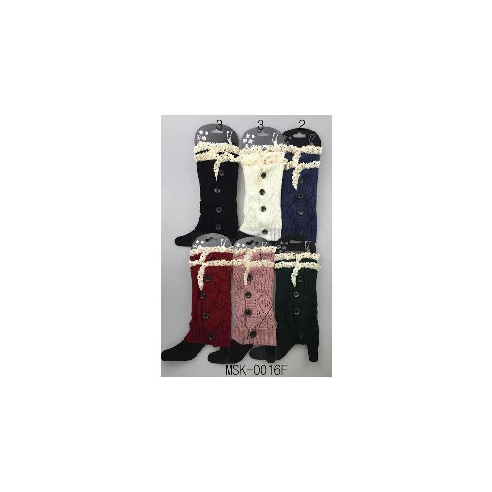 12 Units of Wholesale Knitted Boot Topper Double Lace Top with buttons