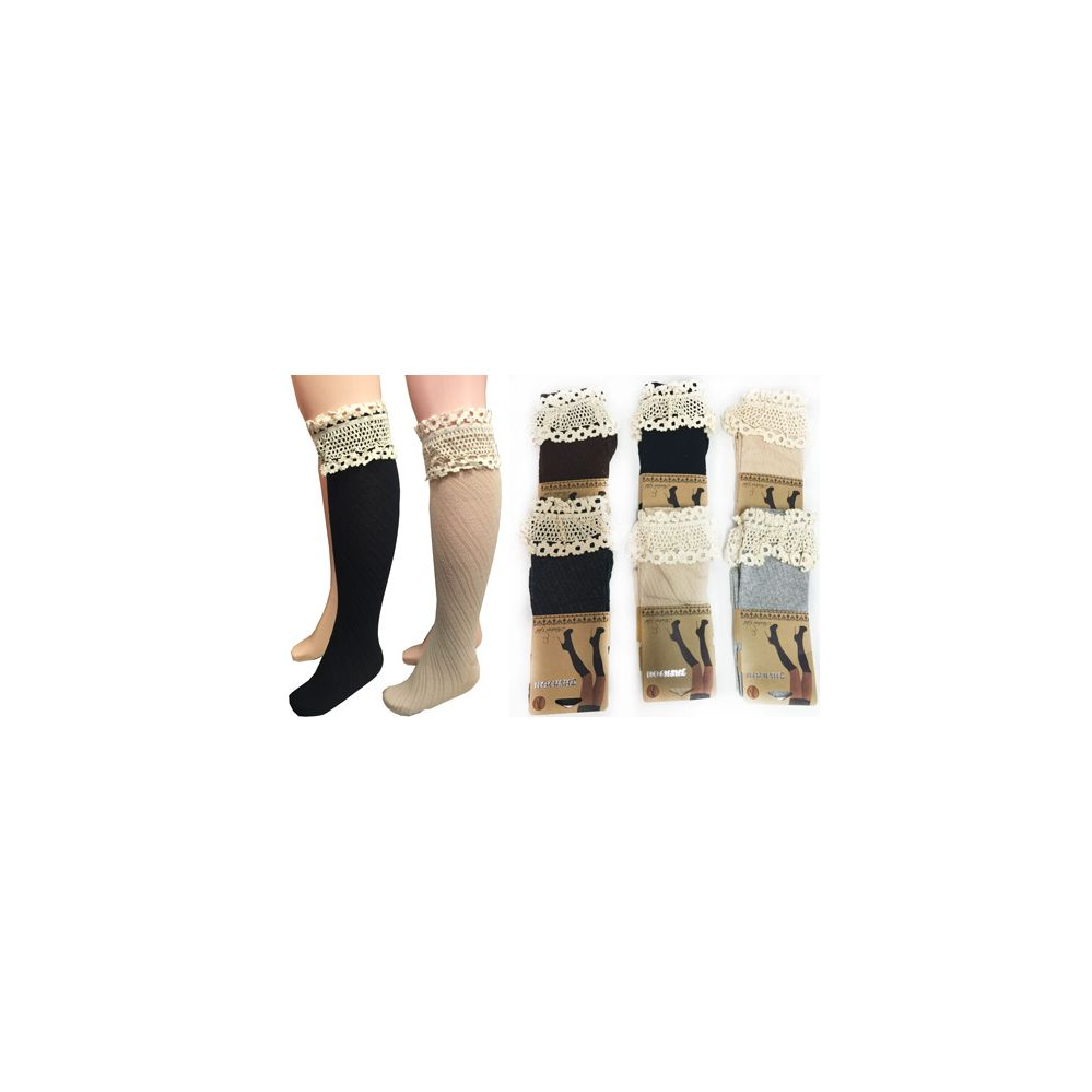 12 Units of Wholesale Long Over the Knee Stocking with Lace Trim Assorted