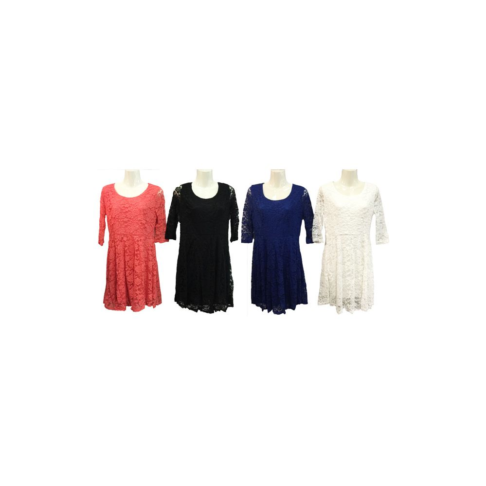 12 Units Of Solid Color Flower Pattern Lace Dress With Sleeves