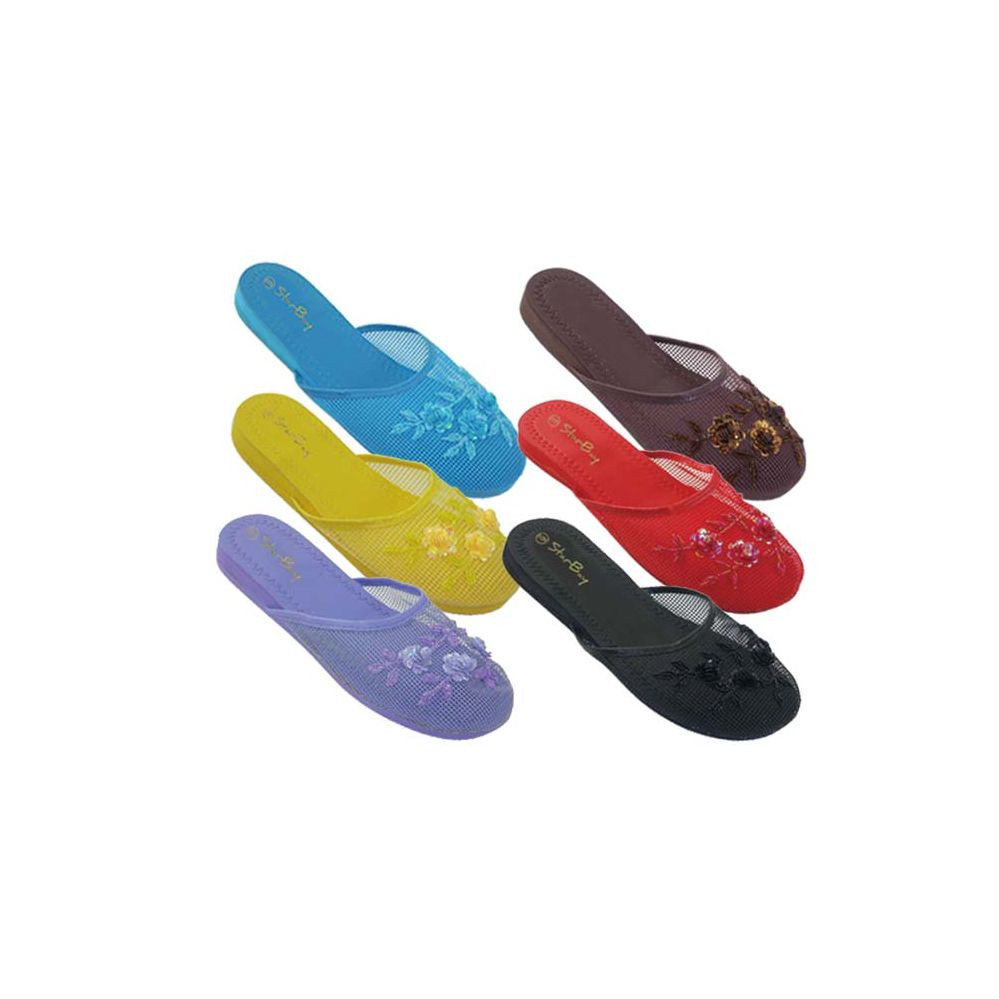 96 Units of Ladies' Chinese Slippers Assorted Colors - Womens Slippers