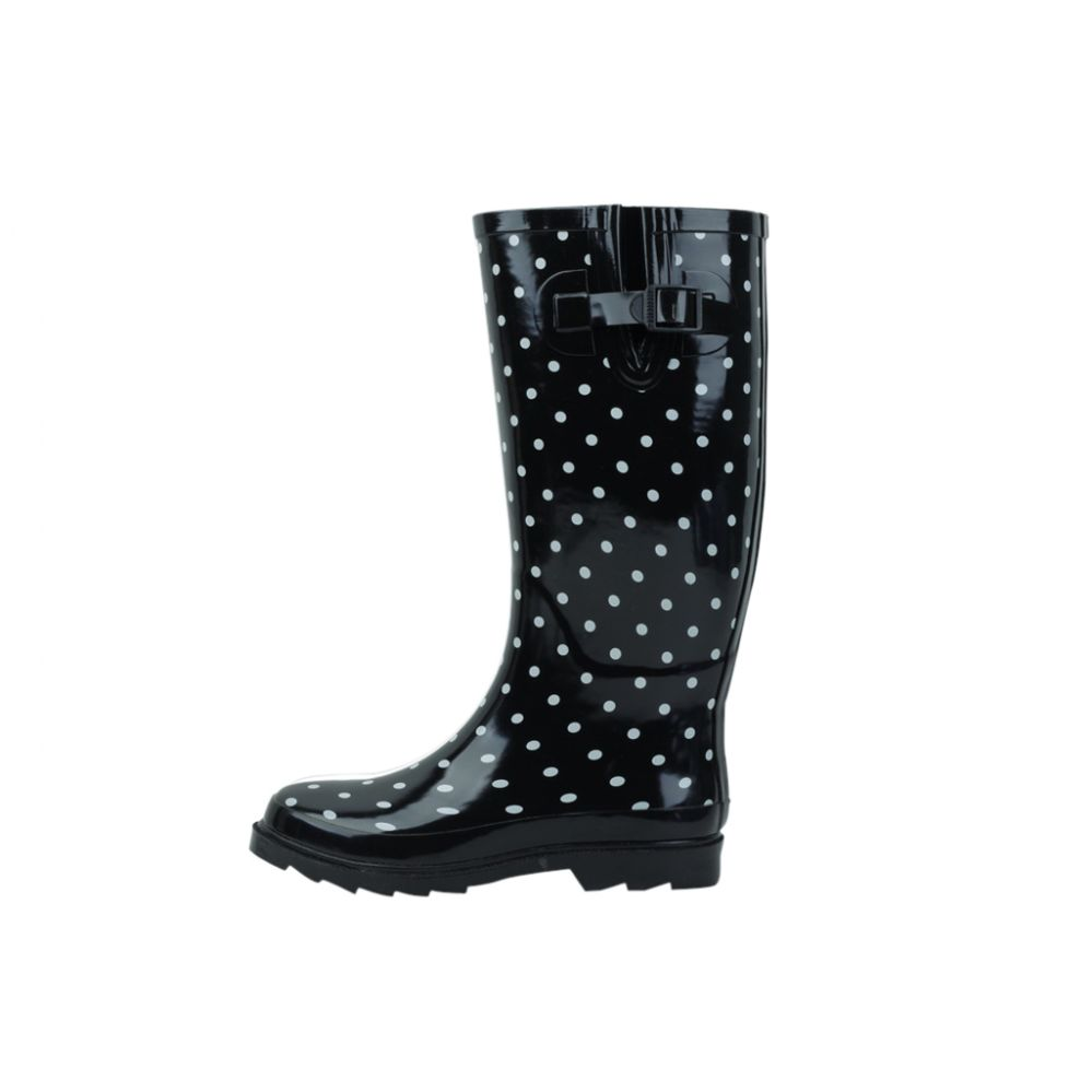 18 Units of Ladies Polka Dot Rubber Rain Boots (13 Inches Tall)