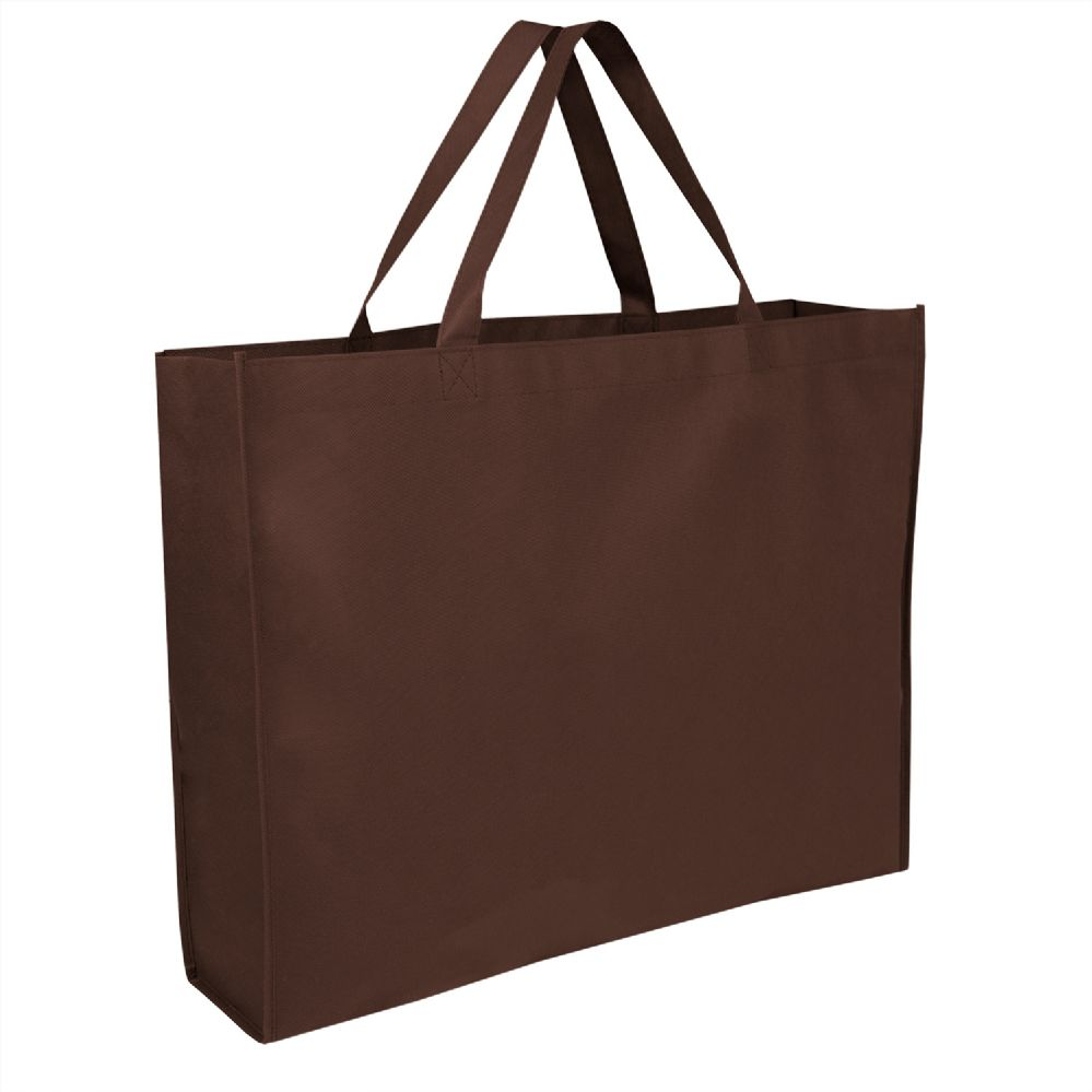 100 Units of 19 Inch Shopper Non Woven Tote Bag - Brown Color - Tote Bags & Slings