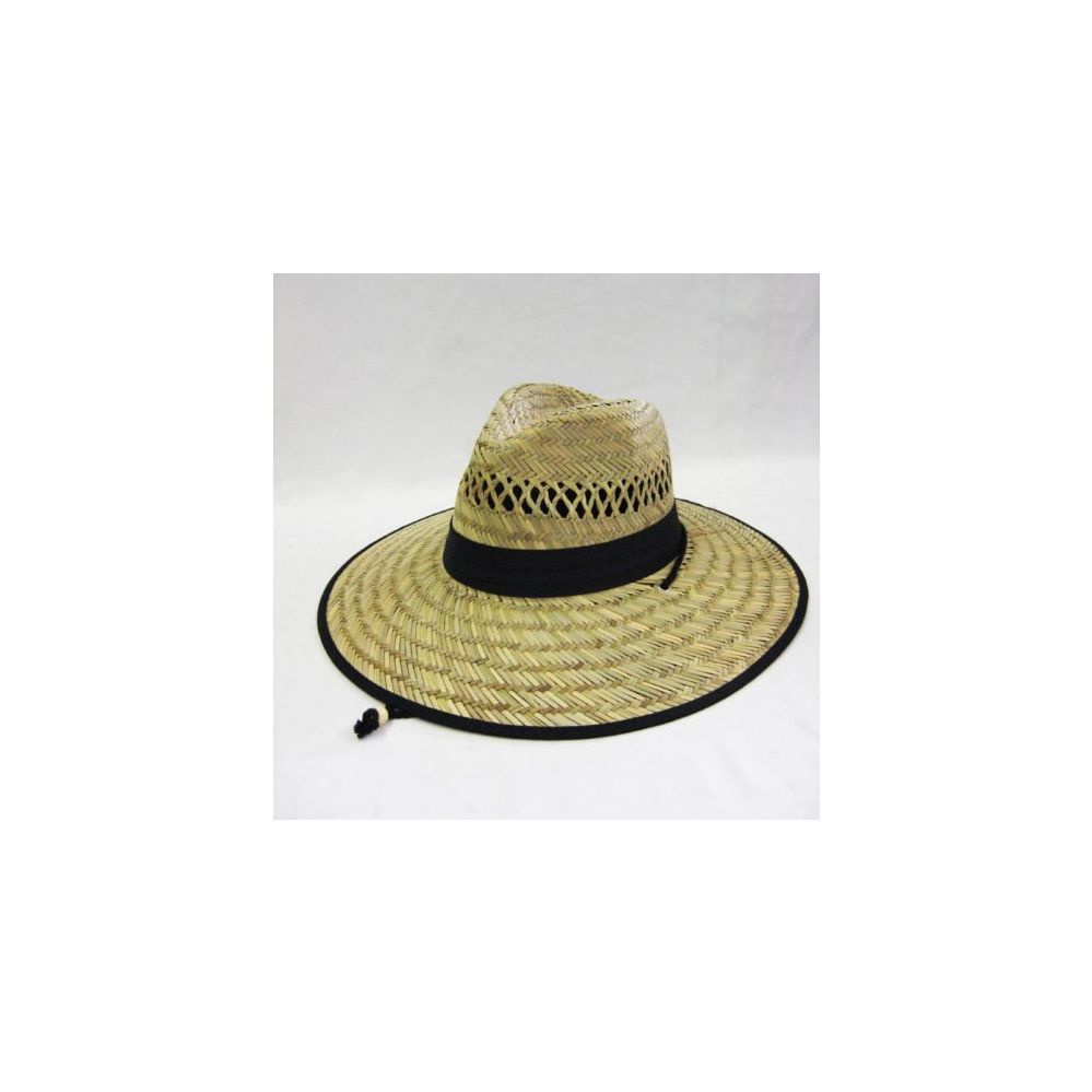 991b3763e68ba3 24 Units of Mens Straw Hat in Beige with Black Trim - Bucket Hats - at -  alltimetrading.com