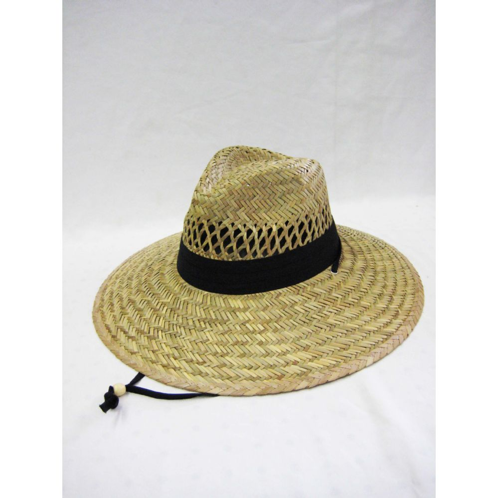 e64977e4615 24 Units of Mens Straw Hat in Beige with Black Trim - Bucket Hats - at -  alltimetrading.com