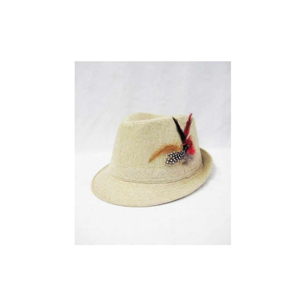 e82e5c19486 36 Units of Wool Fedora Hat with Feather Cream - Fedoras