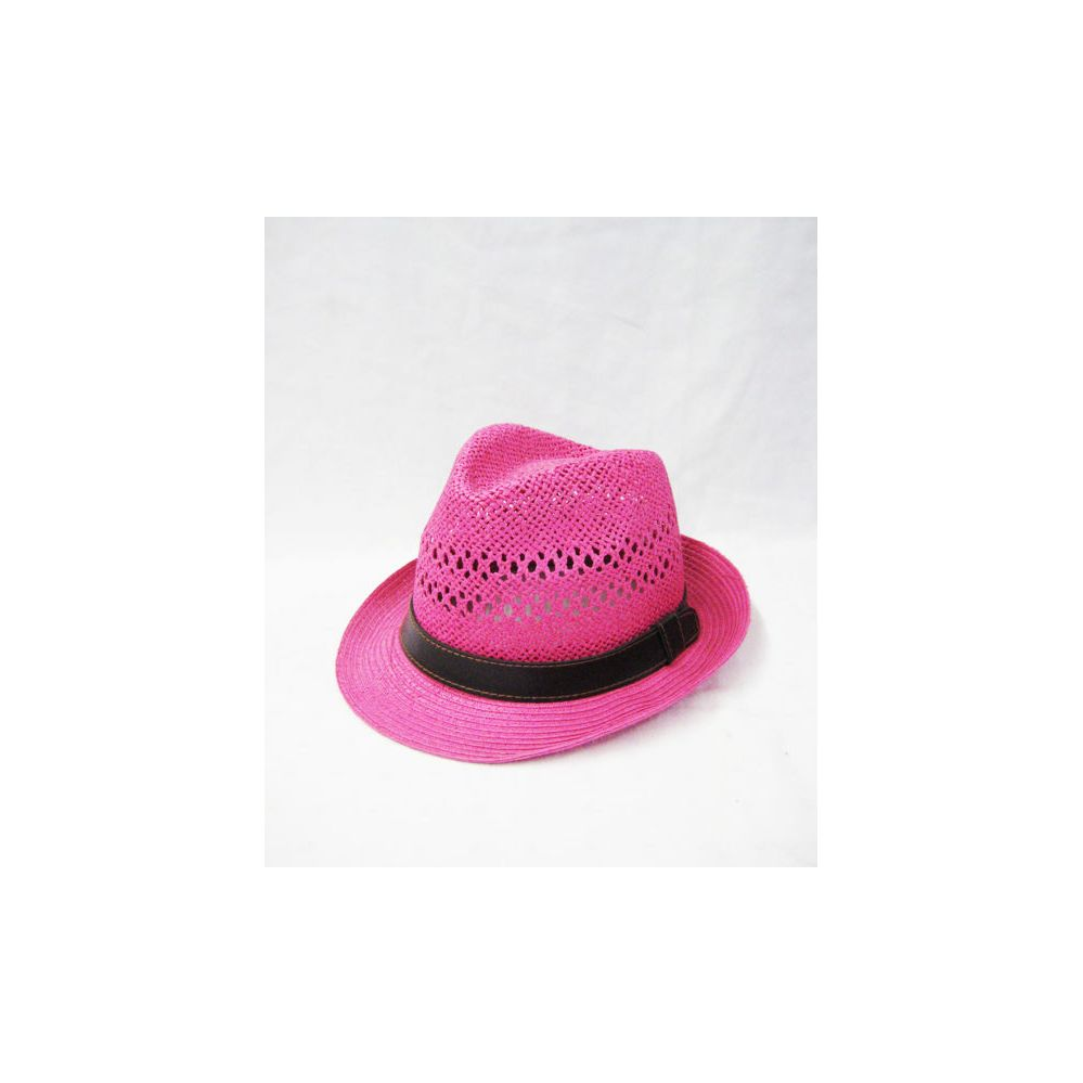 e350ba097 36 Units of Pink Straw Fedora Hat - Fedoras, Driver Caps & Visor