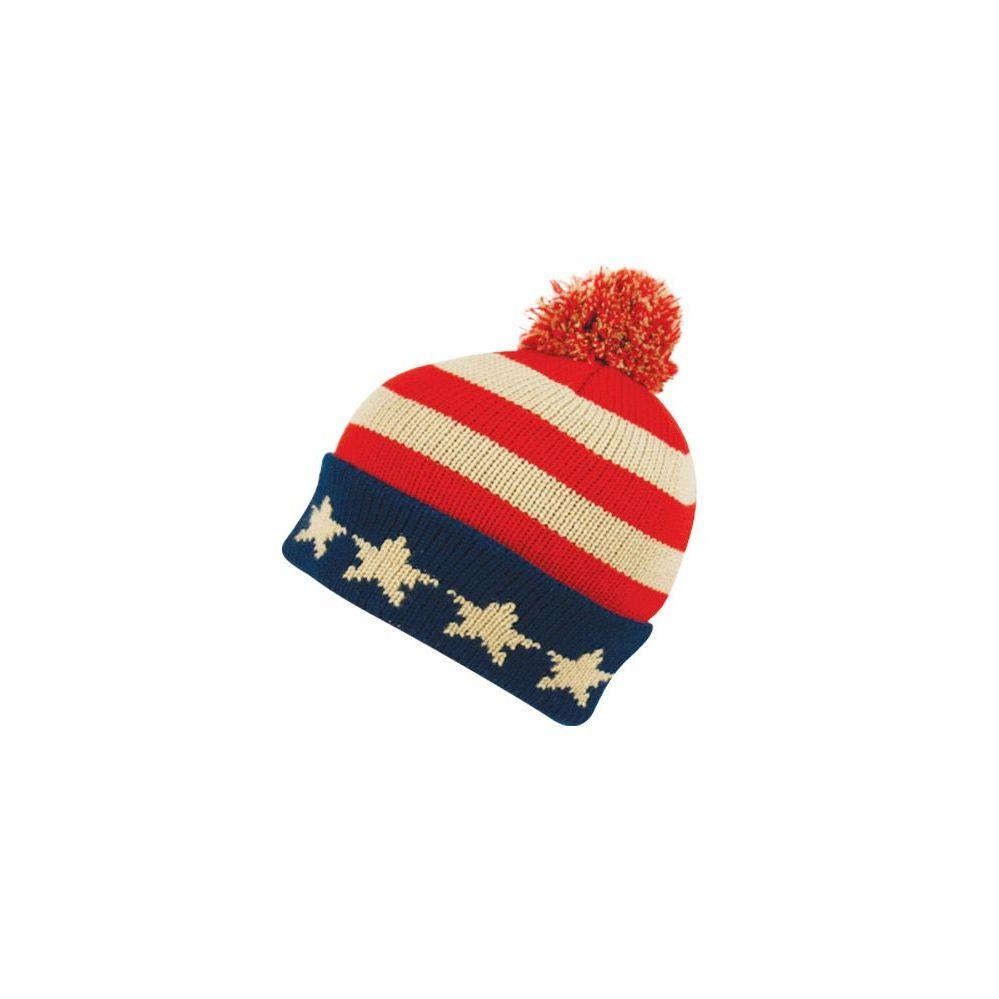 805ba21131d2f 24 Units of KNITTED USA FLAG BEANIE HAT W POM POM - Winter Beanie Hats - at  - alltimetrading.com