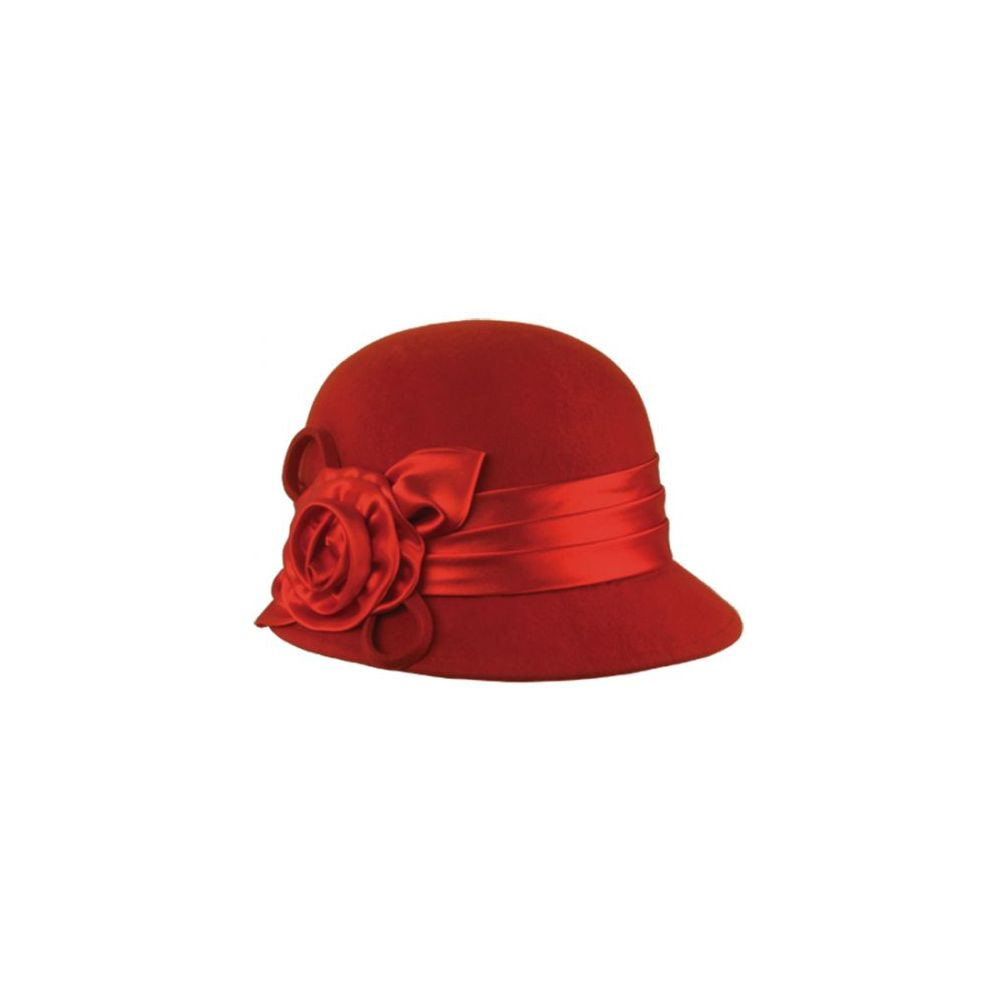 12 Units of WOOL FELT CLOCHE HAT WITH FLOWER - Bucket Hats - at - alltimetrading.com