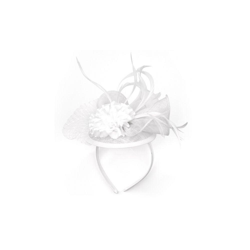 12 Units of FASCINATOR WITH FLOWER TRIM IN WHITE - Church Hats