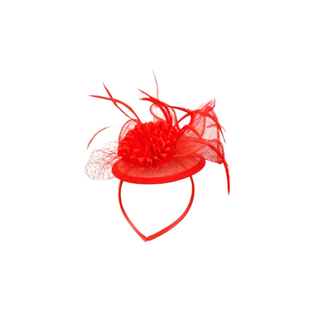 12 Units of FASCINATOR WITH FLOWER TRIM IN RED - Church Hats