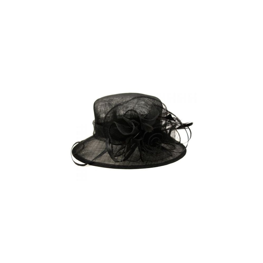 8 Units of SINAMAY FASCINATOR WITH FLOWER TRIM IN BLACK - Church Hats