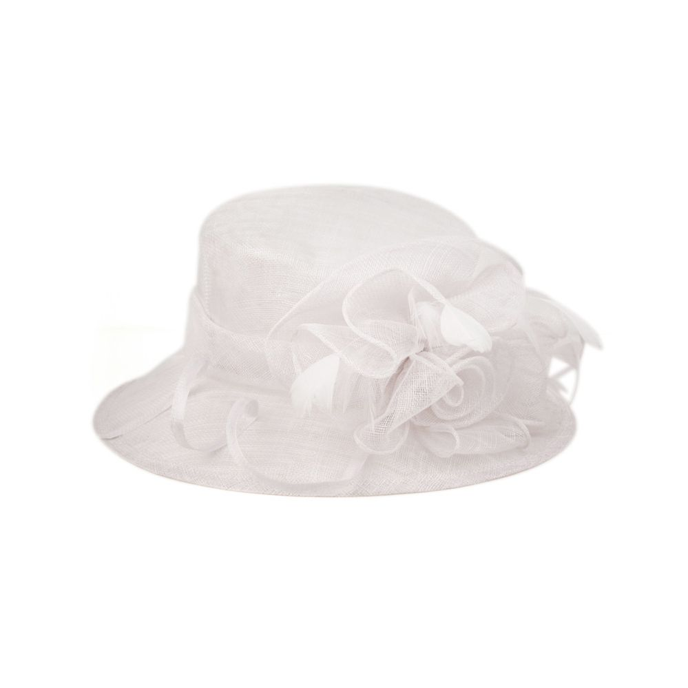 8 Units of SINAMAY FASCINATOR WITH FLOWER TRIM IN WHITE - Church Hats